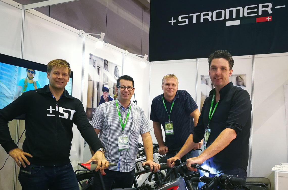 From right: Electrify directors Michael Tritt, Ron Minkhorst and James Munro with Tomi Viiala from Stromer